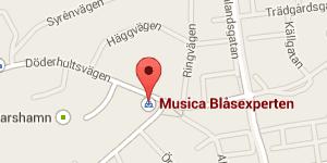 Kontakta Musica Blåasexperten butik - karta